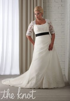 Would love something similar to this, Not an actual wedding gown but with the waist accent, sleeves, and length...