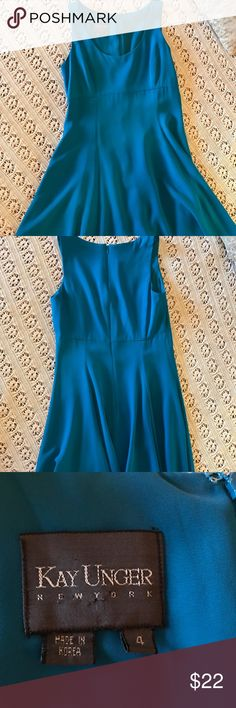 Turquoise Blue A-line Swing Dress Kay Unger Sz 4 This gorgeous dress feels like a dream! Flowy material lightly hugs your curves~ perfect anytime for any occasion. Scoop neck, Zippered back. Kay Unger Dresses Midi