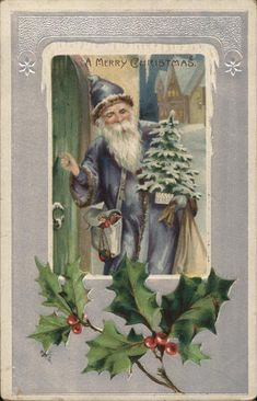 Santa dressed in blue holding a small tree and knocking on a door.
