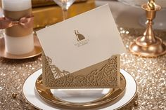 goldene kirliche Hochzeit Einsteckkarten Einladungen Elegante Einladungskarten Hochzeit 2014 / 2015 bei optimalkarten.de