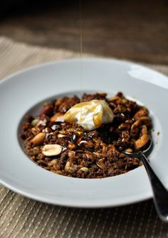 peanut butter and honey granola....sounds like it would be a yummy addition to my greek yogurt in the morning!