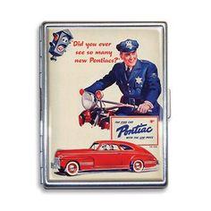 Retro-a-go-go! - Pontiac Vintage Ad Cigarette Case, $24.99 (http://www.retroagogo.com/gm-see-so-many-pontiacs-cigarette-case/)