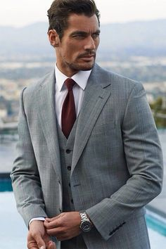 David Gandy: Grey suited and booted.