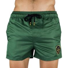 Men's Swim Short - Men's Swim Trunk Green Color - Gold Embroidery   Short De Bain Pour Homme - Vert - Broderie Or