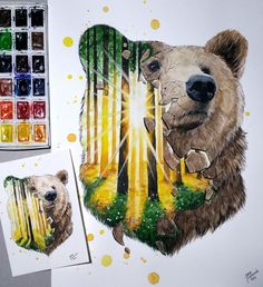 Grizzly bear - mixed media animal paintings and drawings by jonna lamminaho watercolor artwork, watercolor Watercolor Paintings Of Animals, Watercolor Artwork, Colorful Paintings, Animal Paintings, Beautiful Paintings, Animal Drawings, Art Drawings, Wildlife Paintings, Art And Illustration