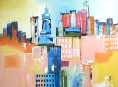 "For Sale: cityscape art landscape painting original art palette knife textured colorful artwork canvas painting framed ready to hang city view infrastructure art blue orange yellow white black green red teal original art  by PooviArtGallery | $745 | 48""w 36""h 