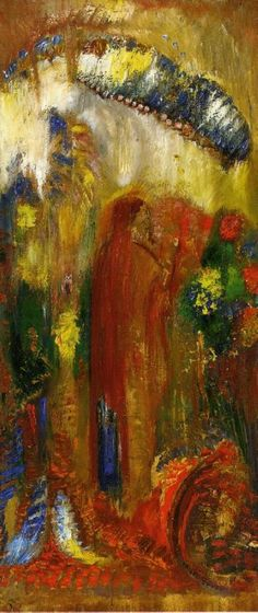 "artist-redon: ""The Sermon, Odilon Redon Size: 39.1x16.8 cm Medium: oil on panel"""