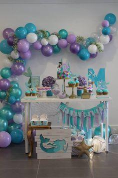 Baby girl birthday party themes decorations 53 New ideas Mermaid Theme Birthday, Little Mermaid Birthday, Little Mermaid Parties, Baby Girl Birthday, Mermaid Party Decorations, Birthday Party Decorations, Little Mermaid Centerpieces, 4th Birthday Parties, Birthday Ideas