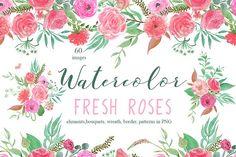 Watercolor Fresh roses by ramika on @creativemarket