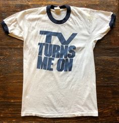 Vintage TvB TV Turns Me On ringer shirt. Tom Petty Shirt, Super Dad, Raglan Shirts, Best Couple, Vintage Tees, 1980s, Plymouth, Mens Tops, Stains