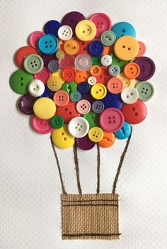Easy DIY Hot air balloon Button Craft to Do At Home - colored buttons and jute square cut and glued. Cute Crafts, Crafts To Do, Creative Crafts, Diy Crafts For Kids, Art For Kids, Arts And Crafts, Paper Crafts, Diy Hot Air Balloons, Balloon Crafts