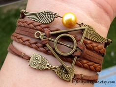 Harry latón pulsera potter snitch dorada reliquias de la muerte buhos pulsera, marrón trenza y reuniéndose cuerda pulsera, brazalete de la amistad