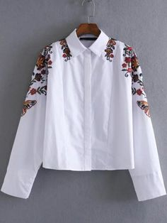 Shop White Floral Embroidery Loose Blouse online. SheIn offers White Floral Embroidery Loose Blouse & more to fit your fashionable needs.