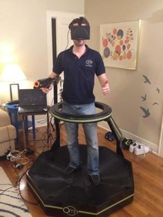 haptic - A virtual-reality headset and treadmill combine to provide users with an immersive gaming experience.
