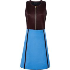 Derek Lam Pleated Leather Combo Dress ($2,243) ❤ liked on Polyvore featuring dresses, sleeveless dress, knee length cocktail dresses, blue dress, pleated dress and front zipper dress