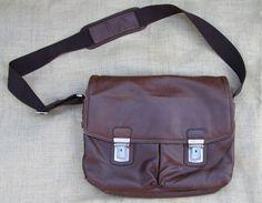 Brown Leather Kenneth Cole Reaction Messenger Laptop Crossbody Bag w/key Read!  #KennethColeReaction #MessengerShoulderBag