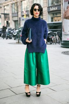 """in the words of #LeandraMedine...""""Yup."""" Yasmin's blue/green combo in Paris. #YasminSewell."""
