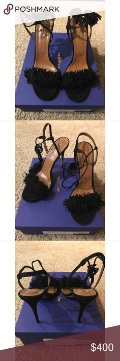 "Aquazzura Wild Thing Sandal Crafted of black suede, Aquazzura's Wild Thing sandals are trimmed with tonal fringe and styled with wraparound ankle ties.   4""/105mm heel (approximately) Open toe, fringe-trimmed toe band, slim ankle ties with tasseled ends, suede-covered stiletto heel Ankle tie closure Smooth leather lining Leather sole with metal logo detail Available in Black Made in Italy Aquazzura Shoes Heels"