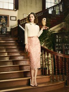 Ted Baker Lookbook - SS13 Finishing School ~ blush lace pencil skirt & ivory blouse <3