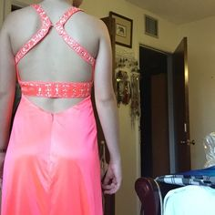 Sexy Fun Prom Dress Super cute prom dress worn once. Fun backless style and beautiful sequin design throughout. It is a more pink/coral. Size 1/2. Morgan & Co. Dresses Prom