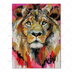 Watercolor Lion face high quality poster A4 printed thick gloss home decor wall