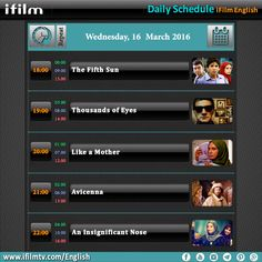 Here is our today's schedule for you. Enjoy your day, iFilmers!   www.ifilmtv.com/english