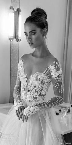 elihav sasson spring 2018 bridal illusion jewel off shoulder neckline sheer long sleeves beaded bodice ball gown wedding dress (vj 004) zfv sexy romantic -- Elihav Sasson 2018 Wedding Dresses