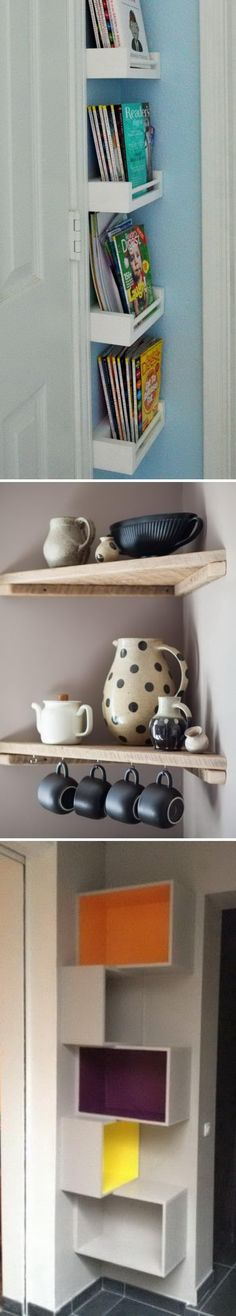 DIY Corner Shelves