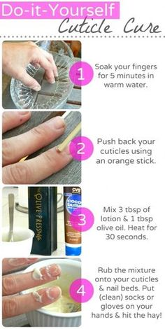 You can make your own overnight cuticle treatment out of olive oil and cocoa butter.
