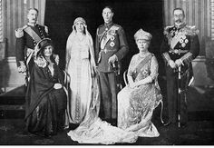 Wedding portrait of the Duke and Duchess of York (the future King George VI of England and Queen Elizabeth) with their parents, the Earl and Countess of Strathmore (left) and Queen Mary and King George V of England.