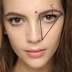 The standard rules for shaping eyebrows are:  A – start directly up from the edge of your nose  B – your brow should end in line with the corner of your nose and the outer corner of your eye  C – Your brow arch should be in line with the outer edge of your iris
