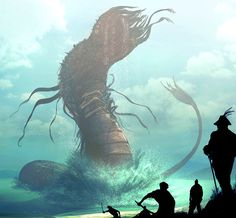 The power to use the abilities of the Leviathan. Variation of Mythical Bestiary and Giant Monster Physiology. User with this ability either is or can transform into a Leviathan, a primal unconquerable monster of the sea. Cthulhu, Fantasy Creatures, Mythical Creatures, The Way Of Kings, Stormlight Archive, Art Anime, Sea Monsters, Monster Art, Creature Design