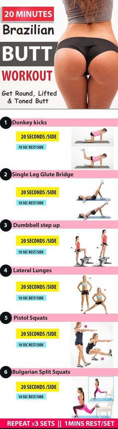 You can the best summer ever ! Try this 20- minutes Brazilian Butt workouts.