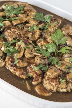Recipe including course(s): Entrée; and ingredients: balsamic vinegar, bay leaf, black pepper, boneless, skinless chicken breast, butter, chicken broth, garlic, mushrooms, olive oil, sea salt, thyme