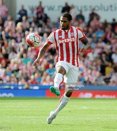 Glen Johnson of Stoke City in action during the Barclays Premier League match between Stoke City and Liverpool at Britannia Stadium on August 9, 2015 in Stoke on Trent, England.