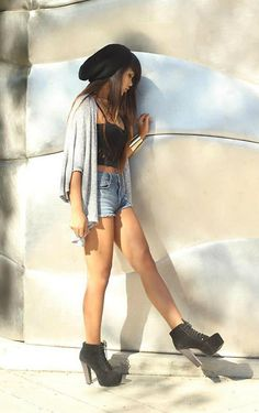 Pacsun High Waisted Shorts, H&M Beanie, Knock Off Litas, Thrifted Snake Ring, Forever 21 Gold Cuff, Forever 21 Bustier, Thrifted Grey Cardigan