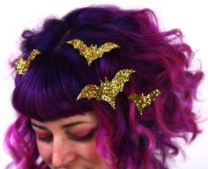 Bat Hair Adornments, Halloween Accessory, Glitter - Janine Basil's Boutique