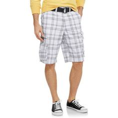 Faded Glory Men's Stacked Cargo Short, White