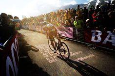Giro d'Italia 2013 iconic image 3/8 - Rigoberto Uran flies into two sides of a crowd and wins his first stage at Giro d'Italia at Altopiano del Montasio!  Via Giro D'Italia.  #socialpeloton #giro #bicycling.