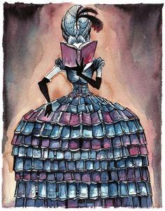 A librarian … very Rococo! / Una bibliotecaria… muy rococó! (ilustración de Levi Hastings)
