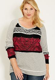 plus size french terry pullover with sweater knit contrast - maurices.com