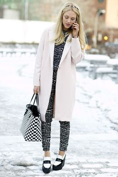New York Fashion Week Fall 2014 - total black and white prints with pink coat