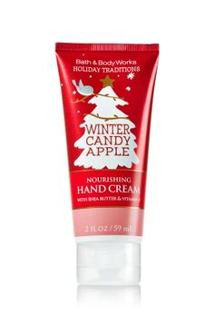 Winter Candy Apple - Nourishing Hand Cream - Bath & Body Works - A winter must-have! Moisturizing Shea Butter and Vitamin E absorb quickly to leave hands feeling soft, smooth, luxuriously nourished & lightly scented.