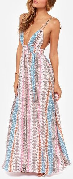 A varied print in light blue, tan, ivory, and coral pink livens up silky woven material that falls light and lovely from a plunging paneled bodice into a maxi skirt. Stretchy smocked waistband adds a custom fit, as well as adjustable spaghetti straps that tie at the shoulder. #lovelulus: