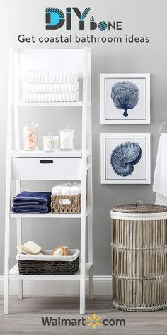 These bathroom décor ideas and accessories for DIY projects will help you make a beachy, beautiful and relaxing retreat. Drift away into a seaside-inspired sanctuary with DIY home décor and inspiration for your next bathroom remodel. Ocean Bathroom Decor, Coastal Bathrooms, Bathroom Ideas, Beach House Decor, Diy Home Decor, Home Organization, Interior Design Living Room, Home Projects, Bedroom Decor