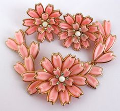 Vintage 50s Flower Bracelet Earrings Pink Thermoset by jantiques, $35.00