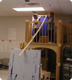 Using classroom furniture to create an incline