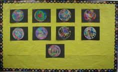 Coffee filter, watercolor planets - glue on black paper