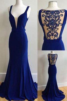 Elegant royal blue chiffon long beading prom dress, see through back halter evening dress