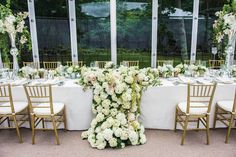 Wedding reception in a glass tent structure head table with large arrangement of white hydrangeas Head Table Wedding, Wedding Table Flowers, Reception Table, Reception Decorations, Wedding Reception, Wedding Ideas, Reception Ideas, Wedding Stuff, Hydrangea Arrangements
